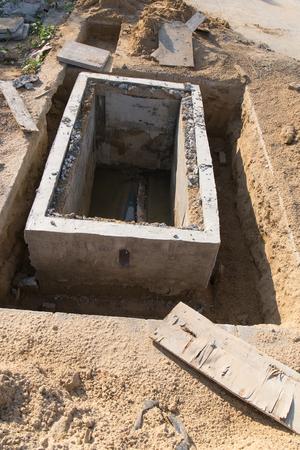 manhole: Manhole of drainage pipe under construction site