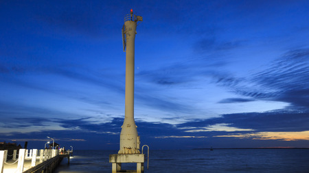 Lighted Beacon or Leading Light with Sunsets and Clouds at bang pu seaside, Samutprakarn, Thailand