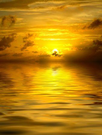 Golden sunset on ocean