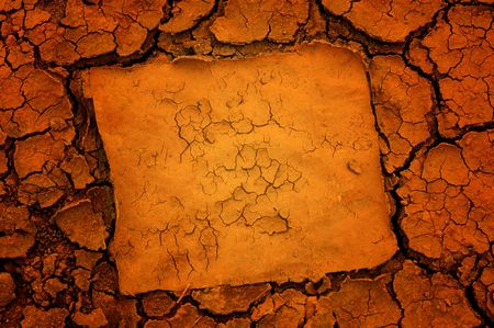 Dry soil background with frame photo