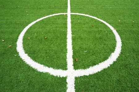 Centre line on soccer field Stock Photo