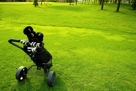 Golf equipment on green grass Stock Photo - 5990738