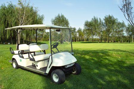 Golf cart on golf course