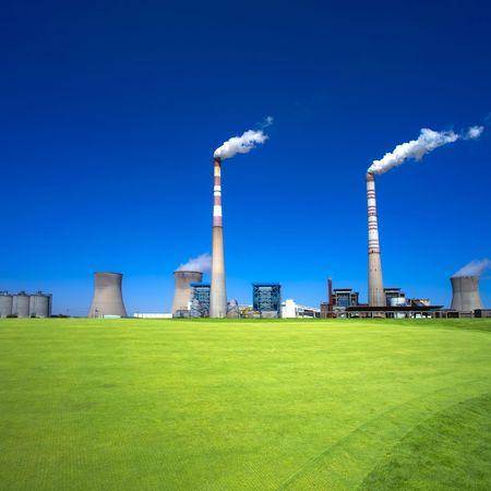 Blue sky over power station