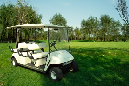Golf cart parked on a golf course photo