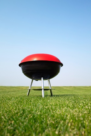 Barbeque grill on green meadow photo