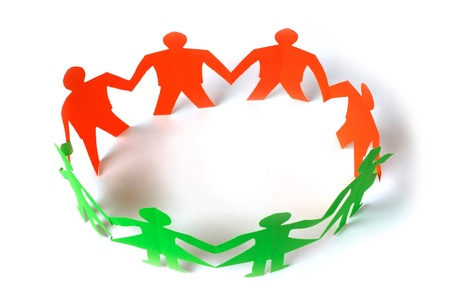 Paper people holding hands Stock Photo