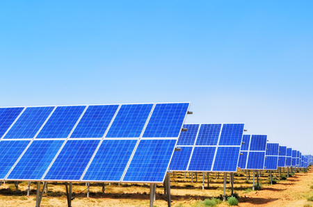 Solar panels with blue sky,China Stock Photo