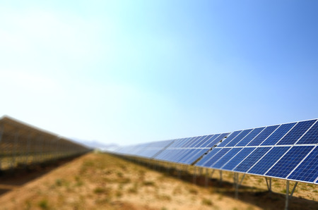 Solar panels with sky  in desert,China