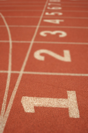 The start point of running track Stock Photo