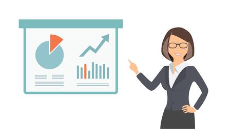 Business woman leading presentation illustration