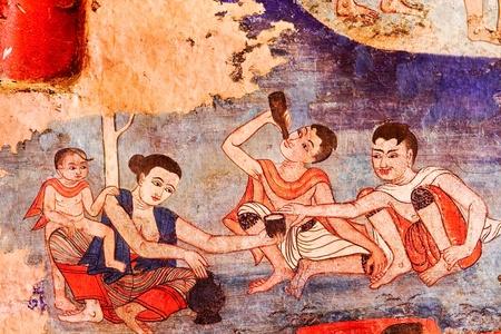 mural of wat prasingh chaingmai thailand