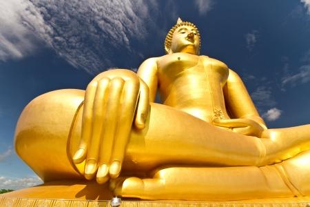 Gloden buddha wat muang Thailand photo