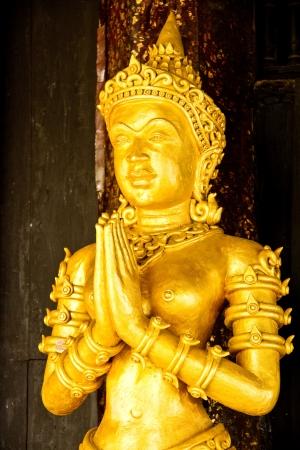 Angel in wat buppharam chiangmai Thailand Stock Photo