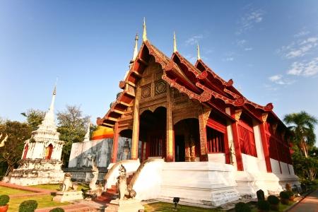 Temple in wat phrasingh chiangmai thailand Stock Photo