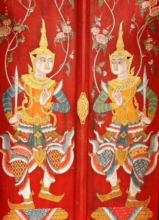 angels mural in wat palad chiangmai thailand photo
