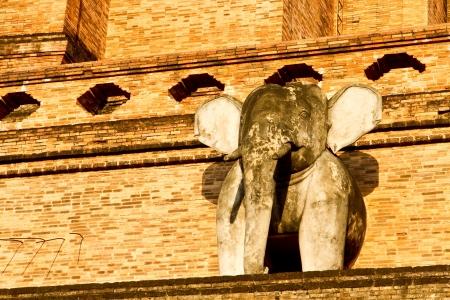 elephant statue wat jedeluang chiangmai Thailand Stock Photo