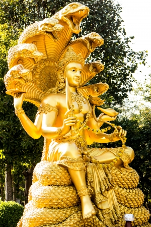 vishnu: gold narayana statue Stock Photo