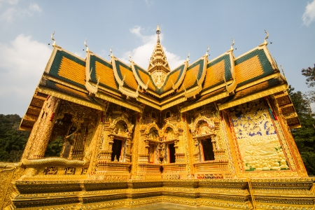 golden church wat phrabahtseeroy chiangmai Thailan photo