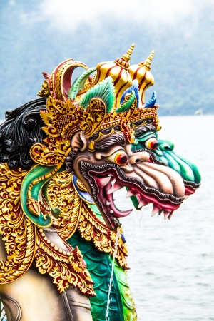 Dragon statue at Bedugal temple bali indonesia photo