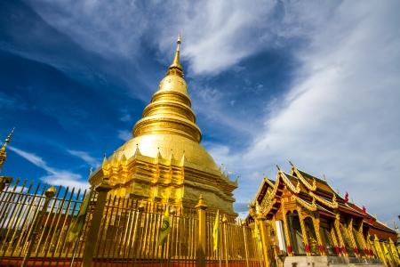 Wat PhraDhartHaribhunchai  lumphun province Thailand Stock Photo