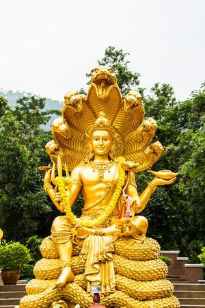 wisnu or narayana statue in huytungtao chiangmai Thailand photo