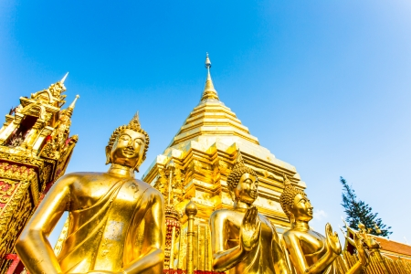 golden pagoda   wat Phra That Doi Suthep, chiangmai ,Thailand photo