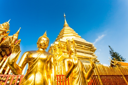 golden pagoda   wat Phra That Doi Suthep, chiangmai ,Thailand Stock Photo - 23454382