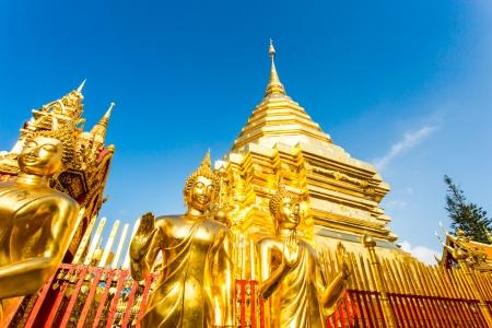 golden pagoda   wat Phra That Doi Suthep, chiangmai ,Thailand photo