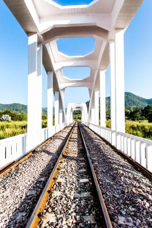 white railway bridge  in lumphun province Thailand photo