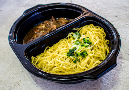 chinese egg noodles and roasted duck Stock Photo