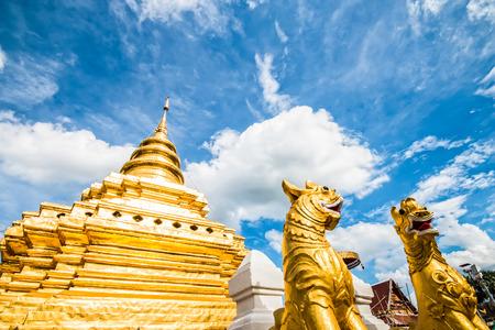 golden pagoda  wat prathat srijomthong chiangmai Thailand Stock Photo
