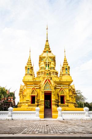 golden pagoda in chiangmai Thailand Stock Photo