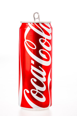 coke can on white background