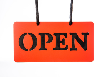 open signboard on white background photo