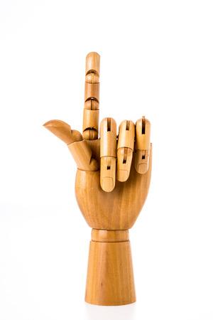 hand wood on white background photo
