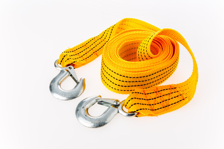 towering rope on white background Stock Photo
