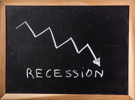Recession graph on black board