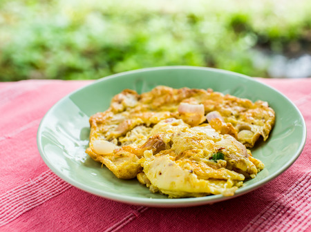omelet: omelet on green plate Stock Photo