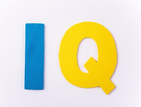 iq: letter IQ on white background