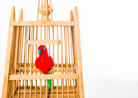 bird pupppet in birdcage
