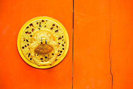 door knob: knob of red door