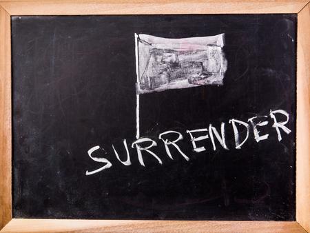 surrender word on blackboard