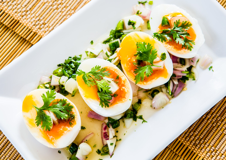 duck egg: medium-boiled egg with salad