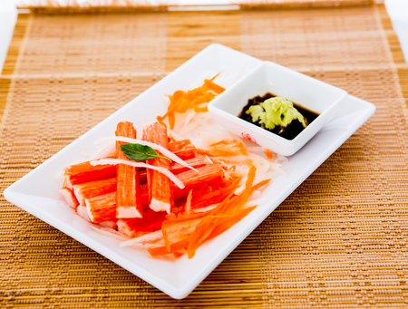 crab stick in plate