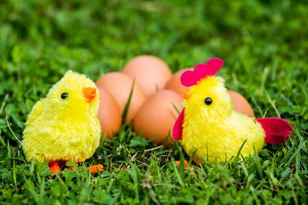 chicken  toy   in the grass Banco de Imagens