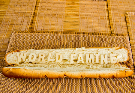 World famine word on baguette