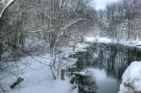 Snowfall on the Muscanetcong River, NJ Stok Fotoğraf