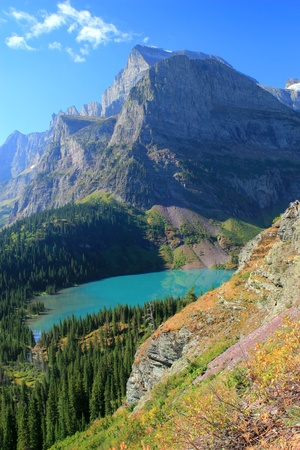 Angel Wing Mountain and Grinnell Lake in Glacier National Park, Montana