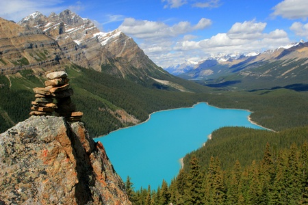 Peyto Lake Rock Cairn, Banff National Park, Canada photo